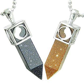 Positive Energie Yin Yang liebe paar Set Magic Amulette Kristall Punkte blau Stein Goldketten