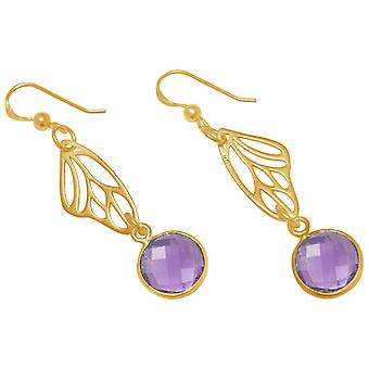 Gemshine - ladies - earrings - 925 Silver - gold plated - butterfly wings - Amethyst - violet - purple - 4 cm