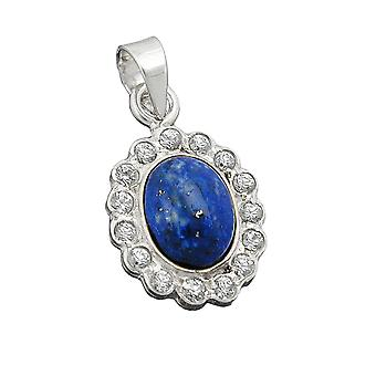 Royal Blue pendant oval with cubic zirconia / Lapis necklace 925 Silver