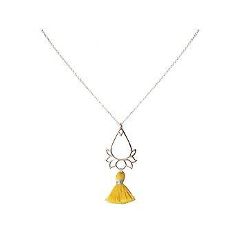 Ladies - - pendant - necklace 925 Silver - Lotus Flower - tassel - gold - YOGA - 45 cm