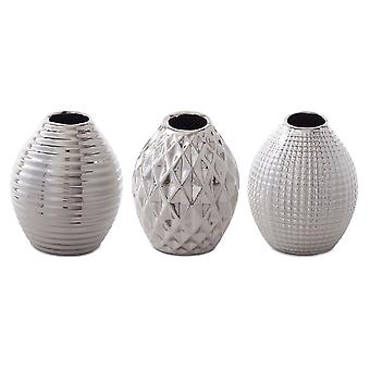 Celly' Silver Stoneware Contemporary Trio of Bud Vases for the Home