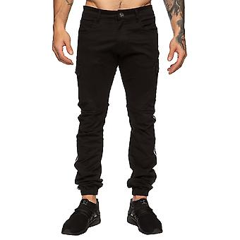 Enzo Designer Mens Black Chino Stretch Jeans | Enzo Designer Menswear