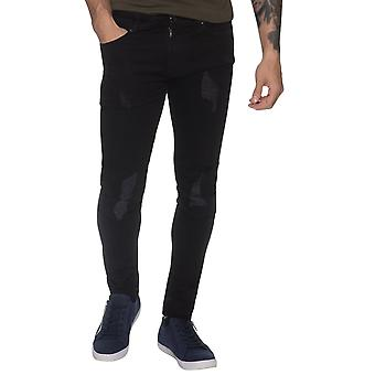 Mens  Rip & Repaired Super Skinny Stretch Denim Jean Black | Enzo Designer Menswear