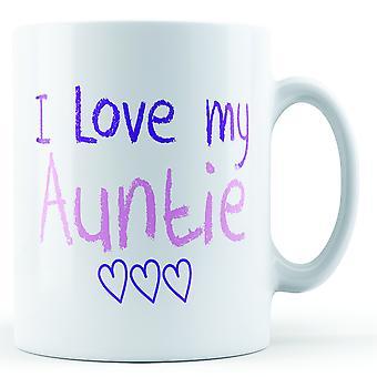 Décoratif écrit que j'aime ma tante rose et mauve écrit - imprimé Mug