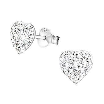 Heart - 925 Sterling Silver Crystal Ear Studs - W19335X
