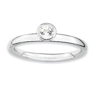 Sterling Silber Lünette poliert rhodiniert stapelbar Ausdrücke hoch 4 mm Runde weiße Topas Ring - Ring-Größe: 5 bis 10