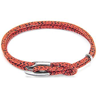 Anchor and Crew Padstow Silver and Rope Bracelet - Red Noir