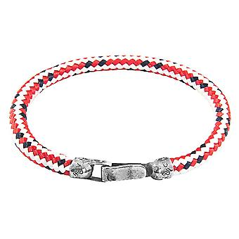 Anchor and Crew Paignton Rope Bracelet - Red/Silver