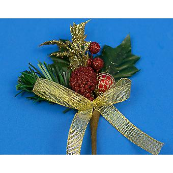 6 Christmas Picks with Red Berries & Gold Trim - Picks for Christmas Floristry
