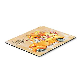 Fall Harvest White Poodle Mouse Pad, Hot Pad or Trivet