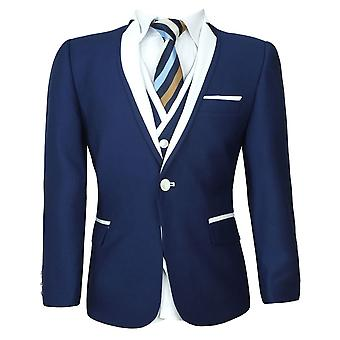 Boys Navy Blue & White Piping Suit