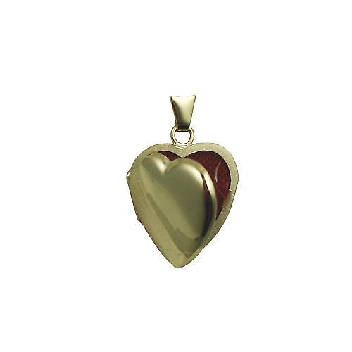 9ct Gold 21x19mm plain heart shaped Locket