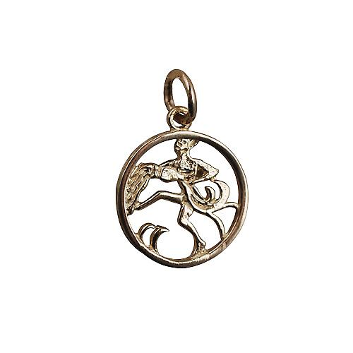 9ct Gold 11mm pierced Zodiac pendant Aquarius