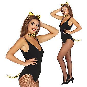 Womens filles 3 pièce Tiger ensemble déguisements accessoires
