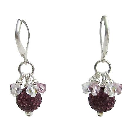 Fine Quality Amethyst Rhinestones Pave Ball Silver Earrings Jewelry