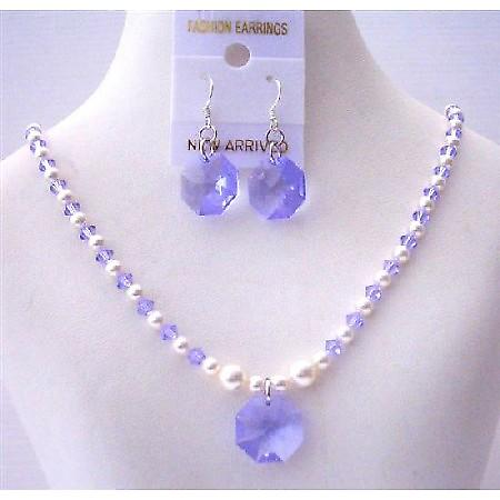 Swarovski Lavender Crystals White Pearls Octagon Pendant Earrings Sets