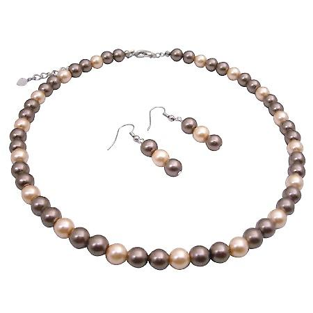 Fashionable Bridesmaid Pearls Jewelry Bronze & Peach Pearls Necklace