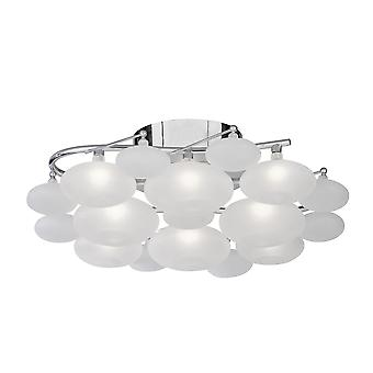 Dulcie 8 Light Chrome And Acid Glass Flush Fitting - Searchlight 8408-8CC