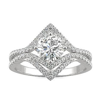 14K White Gold Moissanite by Charles & Colvard 6mm Round Engagement Ring, 1.22cttw DEW