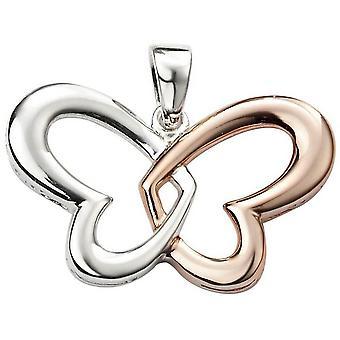 Beginnings Heart Butterfly Pendant - Silver/Rose Gold