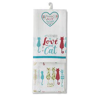 Cooksmart Pack of 2 Tea Towels, Colourful Cats