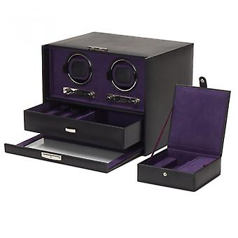 Wolf Designs Blake Black Pebble Leather Double Watch Winder