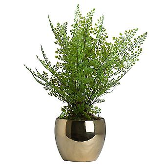 Hill Interiors Artificial Boston Fern In Golden Pot