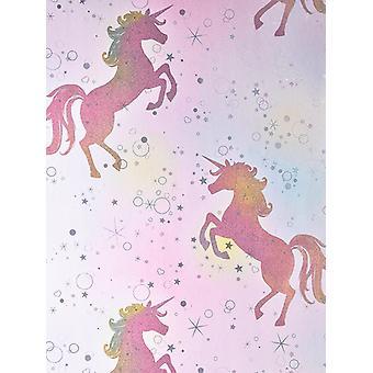 Seien Sie geblendet tanzen Einhorn Wallpaper Regenbogen Coloroll M1423