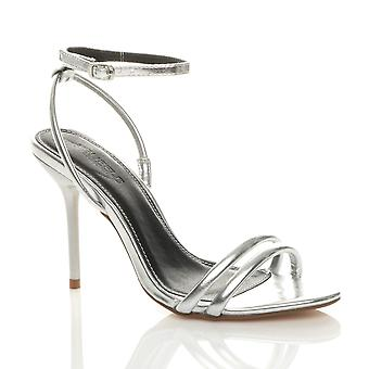 Ajvani Womens high heel barely there ankle strap evening party sandals