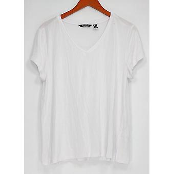 H par Halston Women-apos;s Top Essentials V-Neck w/ Forward Seam White A306231