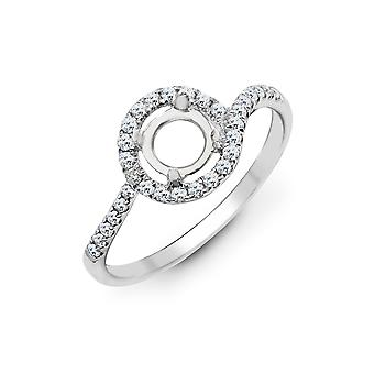 Jewelco London Solid 18ct White Gold Pave Set Round G SI1 0.28ct Diamond Semi Set Mount Engagement Ring 8mm