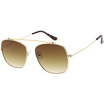 Classic Modern CrossBar Metal Framed Aviator Sunglasses 55mm