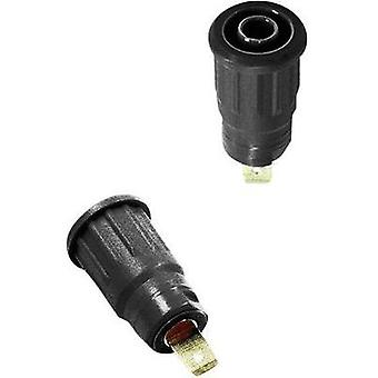 Safety jack socket Socket, vertical vertical Pin diameter: 4 mm Black Stäubli SEB4-F 1 pc(s)