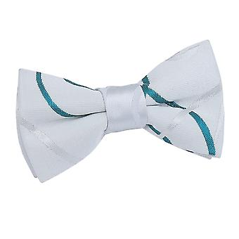 Boy's White & Teal Scroll Pre-Tied Bow Tie