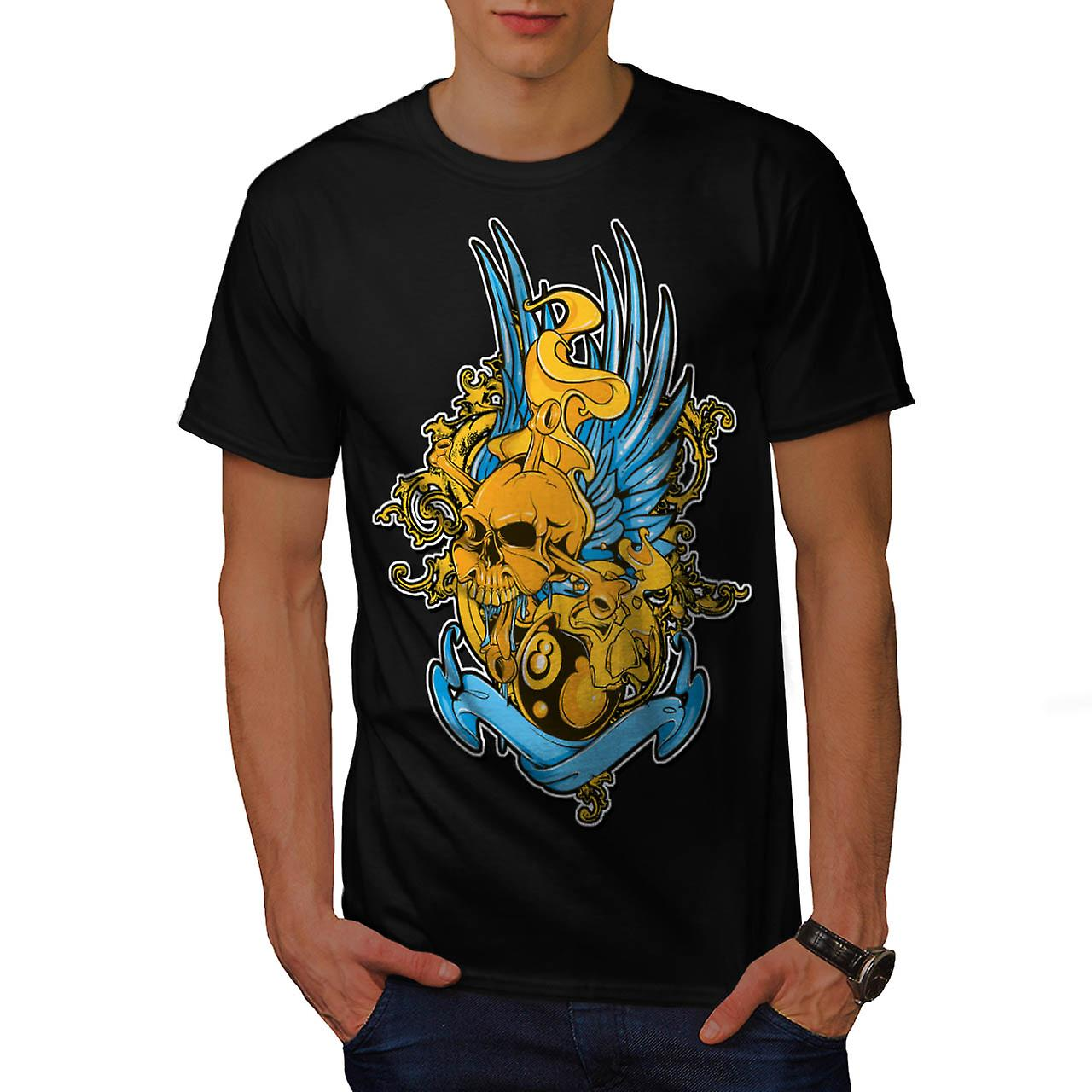 Biker Metal Wings Skull Ball Fear Pot Men Black T-shirt | Wellcoda