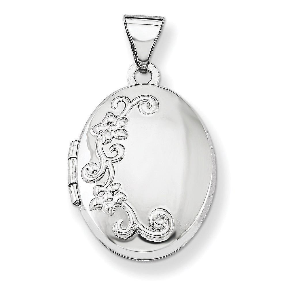 14k blanc or Polished Holds 2 photos Locket - 1.2 Grams