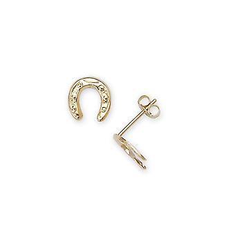 14k Yellow Gold Horse Shoe Shape Stamping Children Earrings - Measures 8x7mm