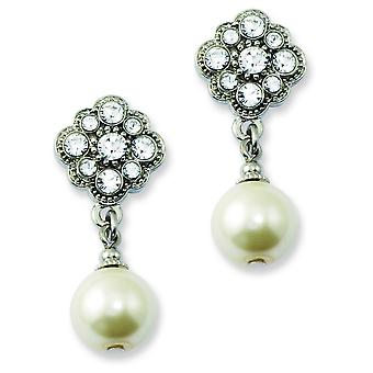 Silver-tone Surgical steel post Simulated Pearl and Crystals Post Dangle Earrings