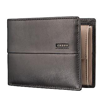 CROSS men's purse wallet GeldbörseSchwarz/taupe 2857