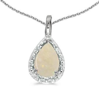 14k White Gold Pear Opal Pendant with 18