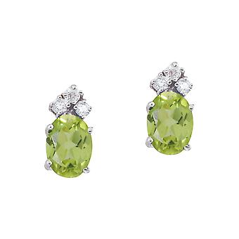 14k White Gold Peridot And Diamond Oval Earrings