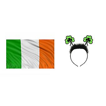 St Patrick's Day Green Fluffly Headband Boppers & Large Irish Flag 5ftx3ft