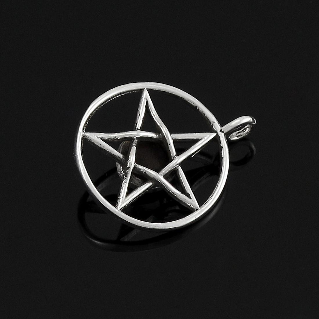 Sterling Silver Pentacle Pendant Red Stone Pagan Charm
