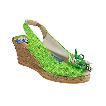 Riva Cruz Fabric Sling Back Sandals Ladies Womens Shoes Fabric Green Slip-on