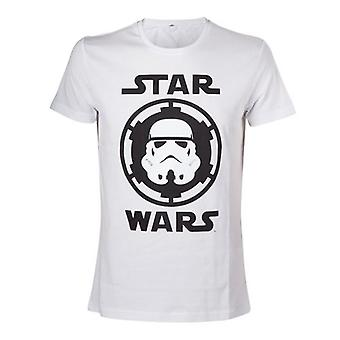 Star Wars Adult Male Stormtrooper Helmet Emblem T-Shirt Small White (Model No. TS080701STW-S)
