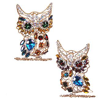 Jeweled Multi Rhinestones Golden Owl Ornament Set of 2 Katherines Collection