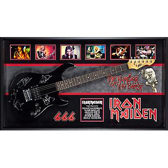 Iron Maiden - Signed Guitar The Number of the  Beast Custom Wood Frame with COA
