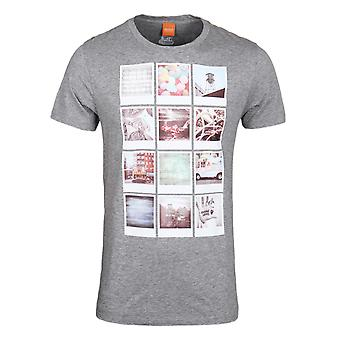BOSS Orange Totally 2 Grey Marl Photo Print Short Sleeve T-Shirt