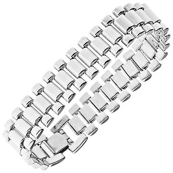 Iced out hip hop bling bracelet - LINK 15mm silver