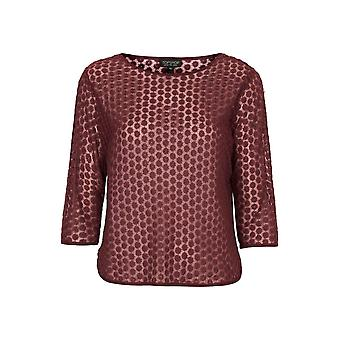 Topshop Daisy Embroidered Mesh Tee